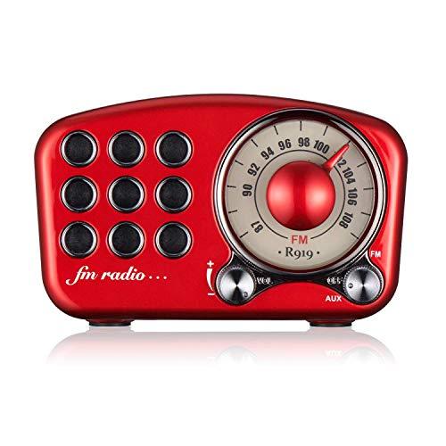 Radio portátil Vintage, Altavoz Bluetooth Retro, Radio FM de Roja con Radio Mini de Estilo clásico Pasado de Moda, Bluetooth 4.2, Tarjeta AUX TF y Reproductor de MP3