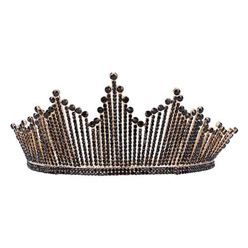 FRCOLOR Diamantes de Imitación Corona Diadema Boda Tiara Peine Desfile Negro Novia...