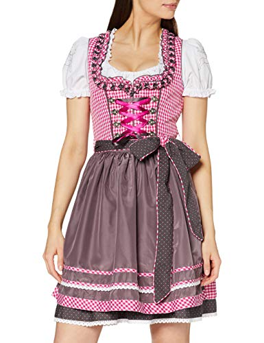 Wiesnkönig Damen Vroni Dirndl, Mehrfarbig (Pink-Taupe 261), 36