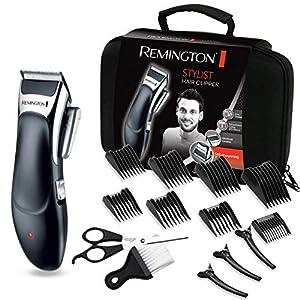 Remington Stylist HC363C - Máquina de Cortar Pelo Profesional, Kit 8 Accesorios y 8 Peines, Recargable, Cuchillas de Cerámica, Negro