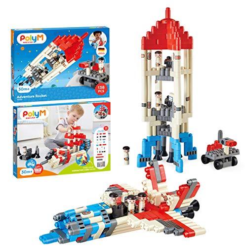 PolyM 760025 Abenteuer-Mondrakete, Flexible Bausteine, Lernspielzeug, Mehrfarbig
