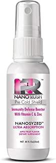 NanoRush Pre-Cold Oral Vitamin Spray--Vitamin C & Zinc Immune System Defense Prevent Cold Remedies with Nanotechnology for Fast Easy Absorption Without Pills (Apple Pear Flavor 30 Day Supply)