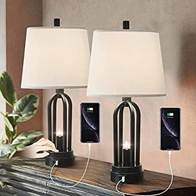 Industrial Table Lamp Set of 2, Touch Control Bedside Nightlight Lamp with Dual USB Ports, Farmhouse Nightstand Lamp with Open Column for Living Room Bedroom Reading Study Office (Black)