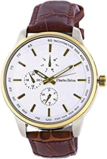 Charles Delon Mens Quartz Watch, Analog Display and Leather Strap 5720 GTWN