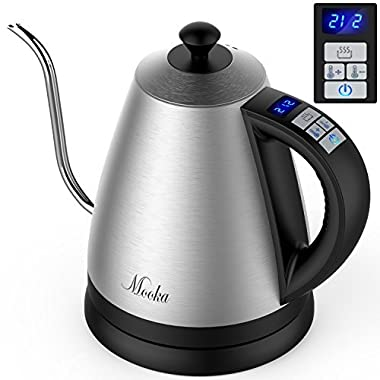 MOOKA Electric Kettle - Gooseneck Electric Kettle with Digital Variable Temperature Control and Keep-Warm Function, Gooseneck Kettle with Full Stainless Steel Interior Perfect for Coffee and Tea,1.2L
