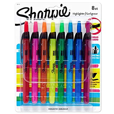 Sharpie Liquid Retractable Highlighters Assorted Colors | Chisel Tip Highlighter Pens, 8 Count