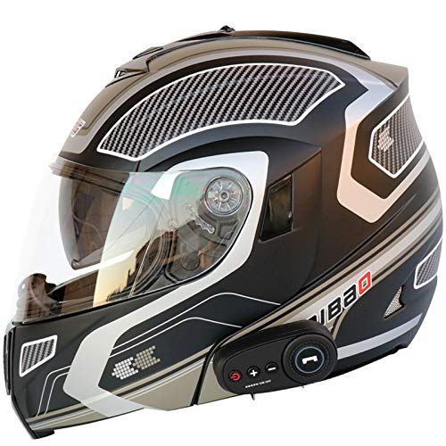 Motorcycle Bluetooth Helmets, Modular flip-Type Bluetooth Moped Helmets, DOT Certified Helmets, Music, Answer Calls, Adult Men and Women 4,L=59-60CM