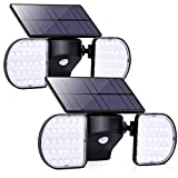 YUJENY Solar Light Outdoor with Motion Sensor, Solar Wall Light with Dual Head Spotlights 56 LED Waterproof 360-Degree Rotatable Solar Security Light Outdoor for Garden (2 Pack)