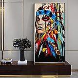 ganlanshu Pintura sin Marco Pluma acuarela abstracta Niña con Pluma pared cuadro lienzo 50X100cm