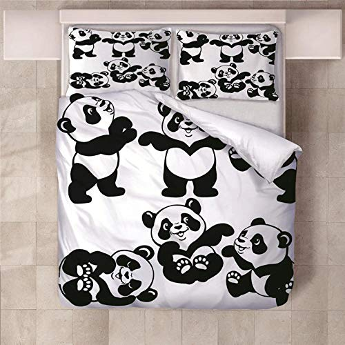 RYQRP Single Duvet Cover Set Cartoon panda Printed Quilt Bedding Set 3pcs with Zipper Closure in Polyester, 2 Pillowcases 140x200cm