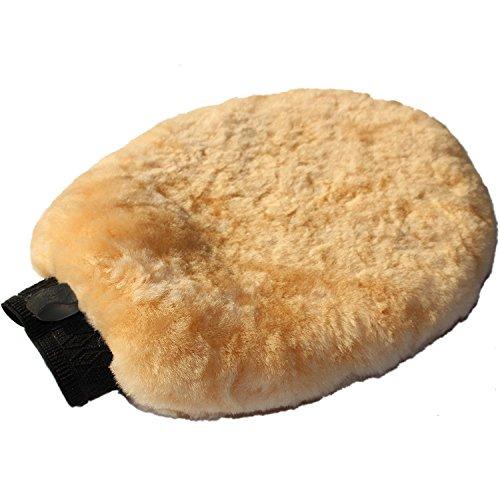 Echte Lammwolle 2-in-1 Nass-/Trocken-Autowäsche-Handschuh | 100% australische natürliche Wolle, Autowasch-Handschuh, Größe 26cm x 20cm, schnelle & sanfte Reinigung von empfindlichen Oberflächen ohne S