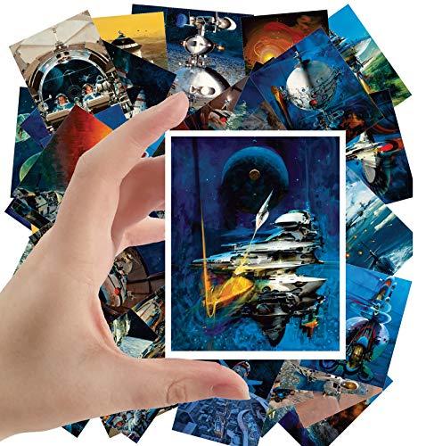 Large Stickers (24 pcs 2.5'x3.5') Vintage SciFi Space Battles Aliens Comic Art John Conrad Berkey