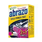 Abrazo Grill Power-Pads detergente per barbecue e forno, antibatterico, spugna per la pulizia di barbecue e cucina, tamponi saponati vegani 2+1
