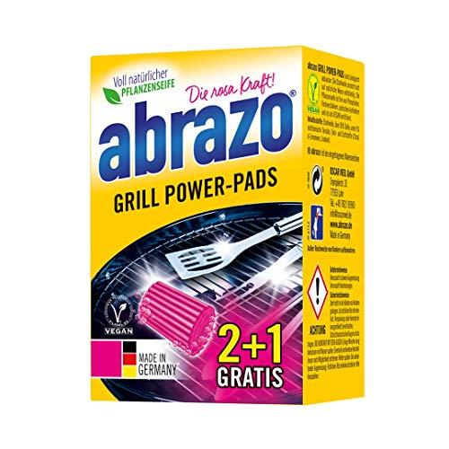 abrazo Grill Power-Pads Grillreiniger & Backofen-Reiniger antibakteriell Reinigungs-Schwamm für Grill & Küche, verseifte Topfreiniger Pads vegan 2+1