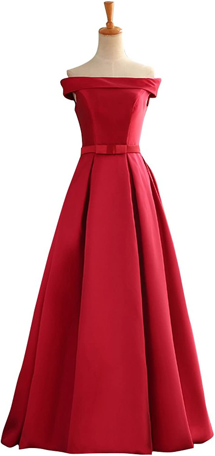 BeautyEmily Boat Neck Satin LaceUp Pleated Graduation Dresses