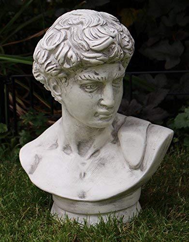 OM Deko Garten Figur Statue Büste David von Michelangelo Klassische Skulptur aus Kunststoff Höhe 44 cm