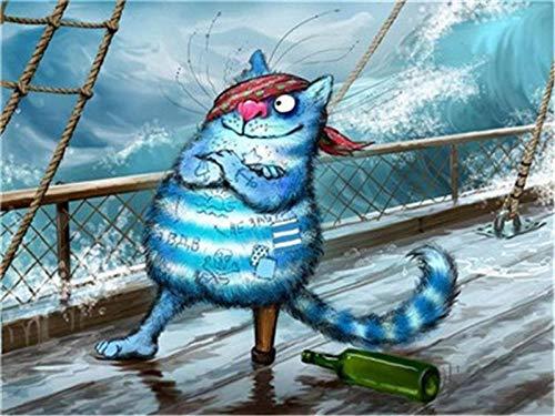 Gato Gracioso En El Barco De Mar Imagen Digital Diy Pintura Al Óleo Lienzo Sala De Estar Diy Hermoso Patrón Obra De Arte Juego De Arte Decoración Del Hogar Pintura De Dibujos Animados,30x40cmMarco