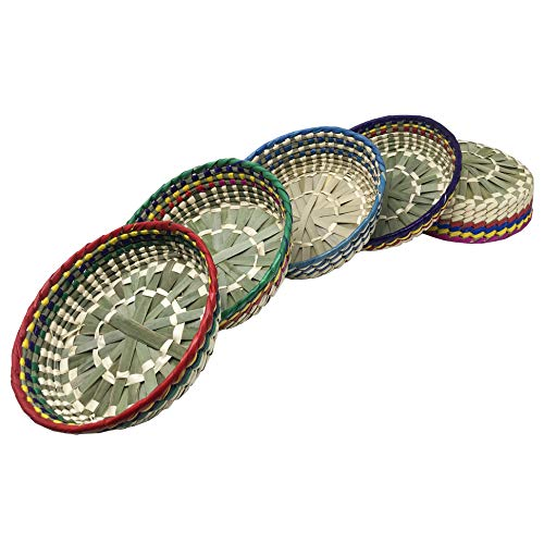 La Mexicana 5 Pack Tortilla Warmer & Holder | Mexican Artisanal Handwoven Basket to Keep Food Warm | Great Taco Holder and Quesadilla Warmer | Pancake Holder | Tortillero