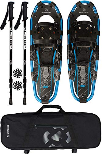 Winterial Lightweight Shasta Snowshoes - 25 Inch Aluminum Rolling Terrain Snow Shoes with Carry Bag and Adjustable Poles (Blue)