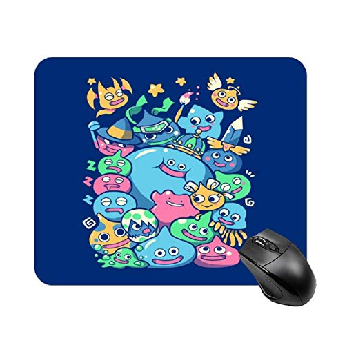 Yuanmeiju Dragon Quest Slime Party High Speed Non Slip Gaming Table mat, Office Square Polyester Base Mouse pad, Customized Small Desk mat 11.8x9.8 in