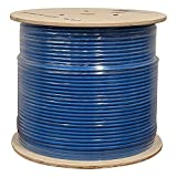Cat6 Plenum Shielded (CMP), 1000ft, 23AWG   100% Solid Bare Copper   550MHz   Bulk Ethernet Cable, Available in Blue, White & Black Color (Blue)