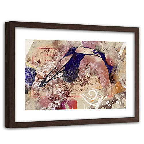 Feeby Impresión Enmarcado marrón Abstracción Cuadro Cuerpo Mujer Desnudo Azul 90x60 cm