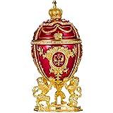 huevo ruso de Estilo Faberge / caja de joya con leones y corona del Emperador de Rusia 15,5 cm rojo
