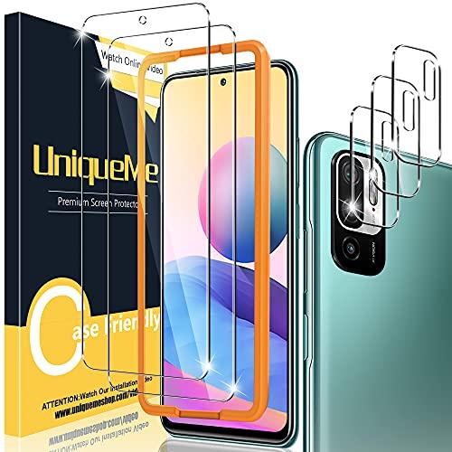 UniqueMe [2+3 pièces] Verre Trempé Compatible avec Xiaomi Redmi Note 10 5G/Xiaomi Poco M3 Pro 5G [Pas Pour Note 10 4G] Protection écran + Protection Camera,[9H Dureté][Sans Bulles] Vitre