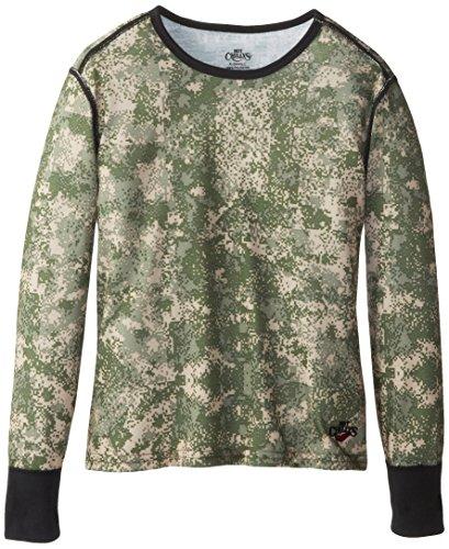 Hot Chillys Midweight Print t-Shirt pour Enfant XL Vert - Olive/Beige