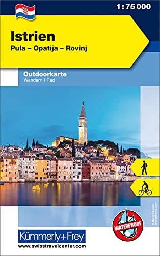 Istrien: Nr. 01, Outdoorkarte Kroatien, 1:75 000, Mit kostenlosem Download für Smartphone: Pula - Opatija - Rovinj. Wander- und Radkarte (Kümmerly+Frey Outdoorkarten Kroatien)