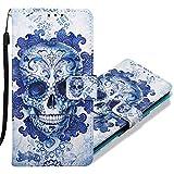 MRSTER Xiaomi Redmi 6A Handytasche, Leder Schutzhülle Brieftasche Hülle Flip Hülle 3D Muster Cover Stylish PU Tasche Schutzhülle Handyhüllen für Xiaomi Redmi 6A. YB Blue Skull