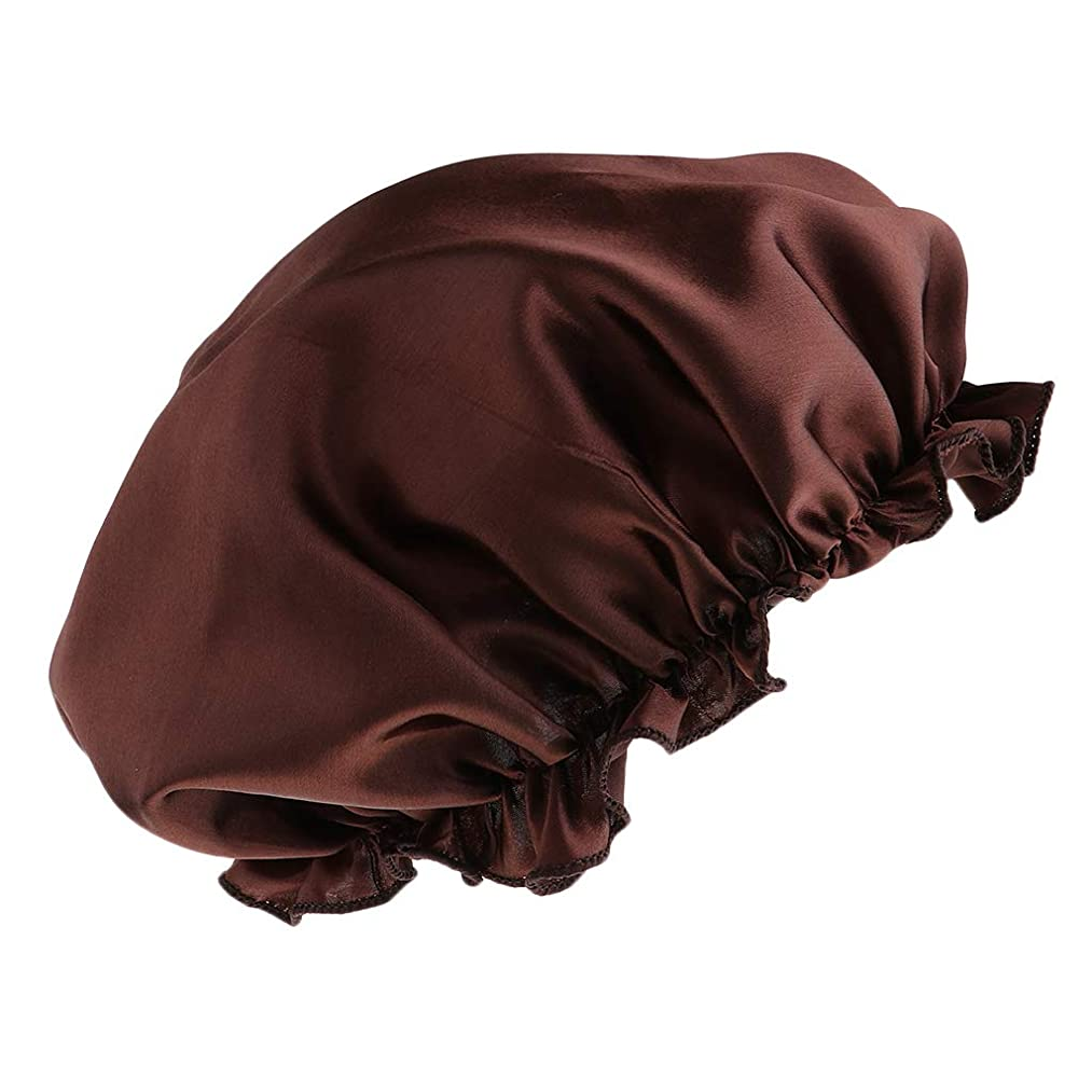 はい暴露許可FLAMEER シャワーキャップ シルクサテンキャップ シルクサテン帽子 美容ヘッドカバー 浴用帽子 全8色 - コーヒー
