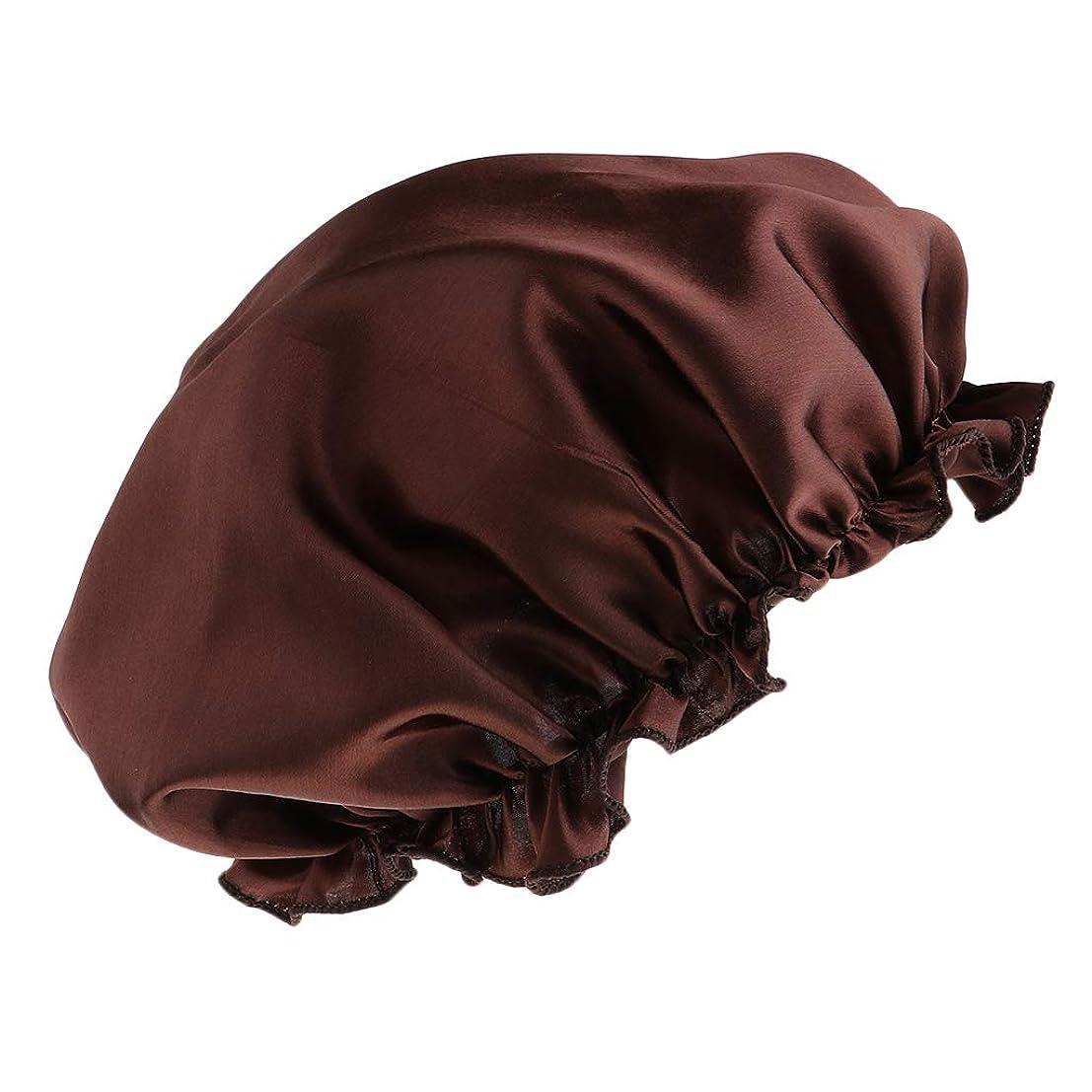 起こりやすいシンプルな規定シャワーキャップ シルクサテン 美容 キャップ 浴用帽子 ヘッドカバー 眠り帽子 全8色 - コーヒー