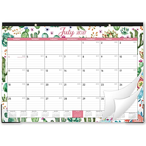 """2021-2022 Desk Calendar - 18 Months from July 2021 - December 2022 Desk Calendar , 17"""" x 12"""", Monthly Desk or Wall Calendar, Large Ruled Blocks Perfect for Planning and Organizing for Home or Office"""