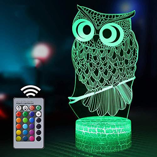 Luz nocturna 3D para niños, búho ilusión 3D al lado de la lámpara de mesa con 16 colores cambiantes y mando a distancia, juguetes para niños, regalo para niños de 7 años, edad 7 6 5 4 3