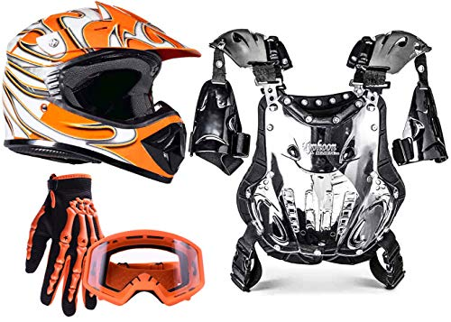 Typhoon Kids Youth Off Road Motocross Gear Combo Helmet Gloves Goggles & Chest Protector - Orange (Large)