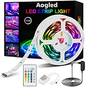 Tira LED,Aogled Luces LED RGB 5m kit 5050 LED con Control Remoto de 24 botones y 16 variaciones de color,Tiras LED para sala de estar, dormitorio, techo y decoración de interiores