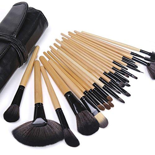 Maquillali Set profesional de 24 piezas brochas para maquillaje (Madera Original), Mejor regalo para…