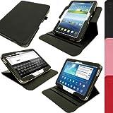 """iGadgitz U2593 Funda Rotatoria Eco Piel Compatible con Samsung Galaxy Tab 3 10.1"""" Tablet GT-P5210, P5200, P5220 y Protector De Pantalla - Negro"""