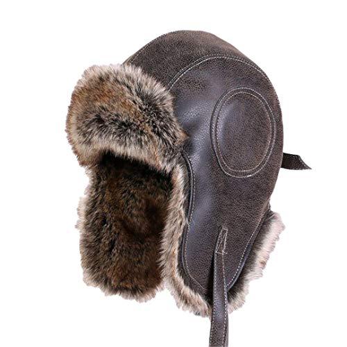 Sombreros de Bombardero para Hombre, Invierno, clido, con Orejeras de Felpa, para Mujer, Gorro de Cazador, Aviador, Soldado, Gorras de esqu para la Nieve Brown S-M(56cm-58cm)