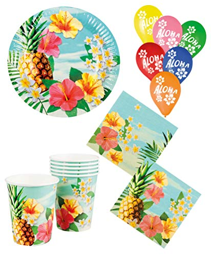 Karneval-Klamotten Party Set Hawaii Blume Hibiskus Teller, Becher, Servietten 8 Personen mit Luftballons bunt