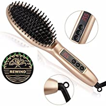 Hair Straightener Brush with built in premium anion generator,lighter and smaller, good for using at home or travel with 2 in 1 function heat Technology and Auto Temperature Lock, Anti-Scald Design