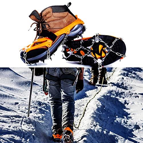 Crampones Tacos de Tracción Crampones Botas Antideslizantes con Raquetas de Nieve Ice con 19 Picos de Acero Inoxidable para Caminar Correr Escalar Hacer Senderismo Sobre Nieve (tamaño: M /(Size:SG)