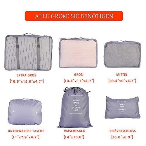 PATIO PLUS Gepäck Organizer 6 Teilige Kleidertaschen, Packtaschen Set für Urlaub und Reisen - Reisegepäck Koffer Organizer für Kleidung Kosmetik Schuhbeutel Aufbewahrungstasche,Blau