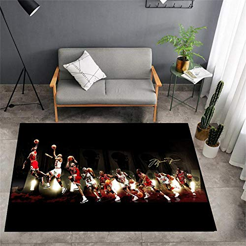 Basketball Team Star Personality 3D Image Area Rugs, Super Hero Pattern Carpet Home Living Room Balcony Study Non-Slip Mat ,Fan Figures Mat for Living Room Bedroom Kids Play Area Rugs
