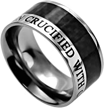 K71 Crucufied With Christ Mens Scripture Ring Wedding Band Galatians 2:20 Bible Religious Stainless Steel Carbon Fiber