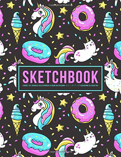 Sketchbook: Carnet de croquis | Skizzenbuch | Album da disegno | スケッチブック | Cuaderno de bocetos: 100 Blank Page Sketch Book for Drawing, Doodling & Writing: Unicorns & Ice Cream 599-9