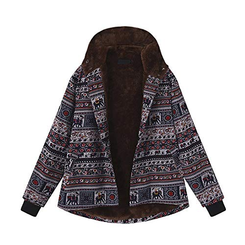 HOMEBABY Plus Size Womens Katoen Winter Warm Jas Fluffy Bont Knop Bloemenprint Parka Lange Mouw Fleece Cardigan Dames Hooded Jas Outwear Jassen UK 8-22