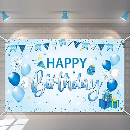 Decoración de Fiesta de Cumpleaños,Banner de fondo cumpleaños,Pancarta Feliz Cumpleaños,para Fotografia Party Photo Studio Props Photo Booth (Azul)