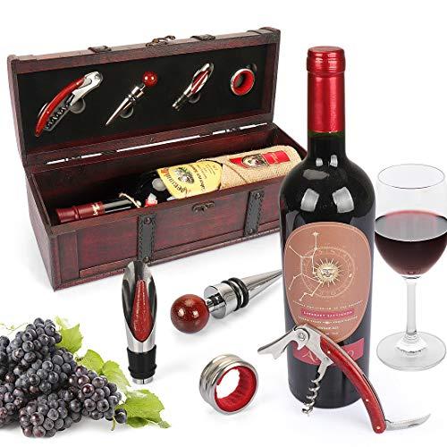 Yobansa Antike Holzkiste Aufbewahrungsbox mit Griff, Weinflaschenbox, Weingeschenkbox aus Holz, Weinverschluss, Weinausgießer, Weinöffner (red)